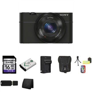 Sony DSC RX100 Digital Camera + External Rapid Charger + 16GB SDHC Memory Card (Class 10) + NP BX1 Lion Battery + Carrying Case + Mini Tripod Kit + USB SDHC Reader + Memory Wallet  Point And Shoot Digital Camera Bundles  Camera & Photo