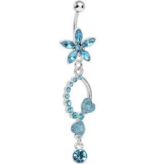 Blue Gem Flirty Flower Drop Belly Ring Body Candy Jewelry
