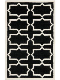 Safavieh DHU549L Dhurrie Collection Handmade Wool Square Area Rug, 6 Feet, Black