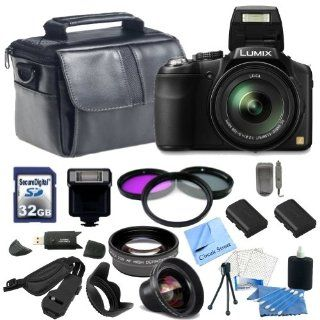 Panasonic Lumix FZ200 Digital Camera with CS Ultimate Kit Includes 2 Replacement Batteries, Rapid Travel Charger, 32GB SDHC Memory Card, Slave Flash, 0.45x High Definition Wide Angle Lens, 2x Telephoto HD Lens, 3 Piece Multi Coated Filter Kit, Tulip Lens