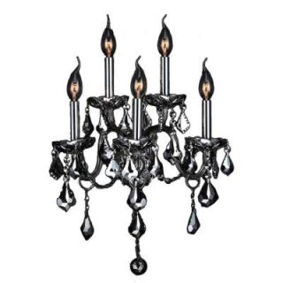 Worldwide Lighting Provence Collection 5 Light Chrome with Chrome Crystal Wall Sconce W23105C13 CH