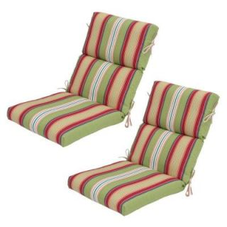 Hampton Bay Lancaster Stripe High Back Outdoor Chair Cushion (2 Pack) 7718 02001200
