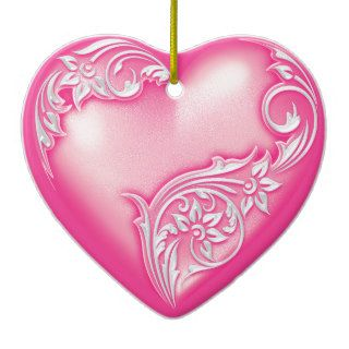 Heart Scroll Light Hot Pink w White Christmas Ornament