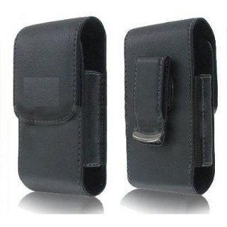 Black Vertical Leather Case Holster Cover Side Pouch with Rotating Belt Clip for T Mobile Aspect   Cricket Samsung Comment 2   T Mobile BlackBerry Curve 9315   Virgin Mobile Kyocera Event C5133   Net10   Tracfone MOTOGO Motorola EX431G   Alltel UMX MXC 570