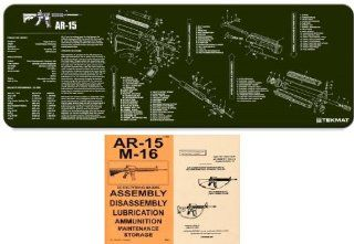 Ultimate Arms Gear OD Olive Drab Green Gunsmith & Armorer's Cleaning Work Tool Bench Gun Mat Assembly Disassembly For AR15 AR 15 AR 15 M4 M16 Rifle + .223 556 5.56 MM Machine Gun Technical Manual Book Official US Army Military Reproduction  Gunsmi