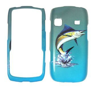 Samsung Replenish M580   Marlin Fish on Two Tone Blue and White Realtree camo Shinny Gloss Finish Hard Plastic Cover, Case, Easy Snap On, Faceplate. Cell Phones & Accessories