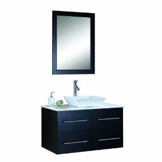Virtu USA MS 565 S ES Marsala 36 Inch Wall Mounted Single Sink Bathroom Vanity Set with White Stone Countertop, Faucet, Espresso Finish   Bathroom Vanity Cabinet And Sink