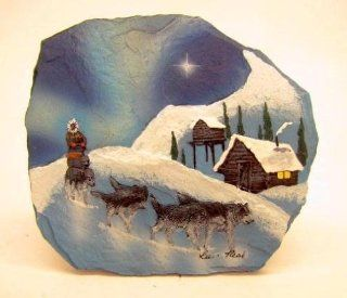 New Resin Art Shale Rock Painted Slab Sled Dog Team Northern Lights Figurine  Collectible Figurines