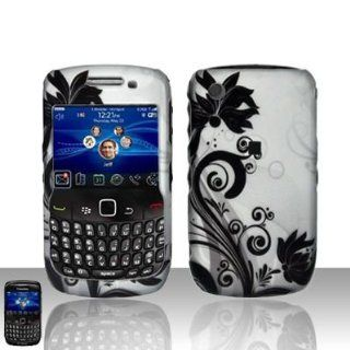 Silver Black Vine Flower Rubberized Snap on Design Hard Case Faceplate for Blackberry Curve 3g 9300 9330 8520 8530 Cell Phones & Accessories