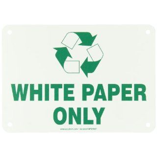 "Accuform Signs MPLR587VP Plastic Sign, Legend ""WHITE PAPER ONLY"" with Graphic, 7"" Width x 10"" Length, Green on White Industrial Warning Signs"