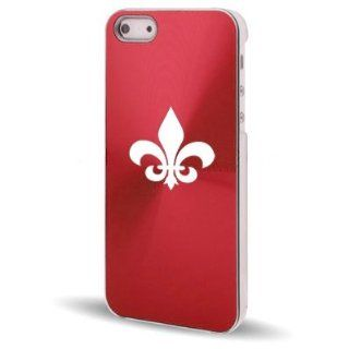 Apple iPhone 5 5S Rose Red 5C569 Aluminum Plated Hard Back Case Cover Fleur de lis Cell Phones & Accessories