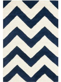 Safavieh CHT715C Chatham Collection Wool Square Area Rug, 7 Feet, Dark Blue/Ivory   Chevron Rug Dark Blue And White