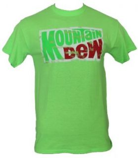Mountain Dew Mens T Shirt   Day Glo Distressed Logo (Medium) Neon Green Clothing