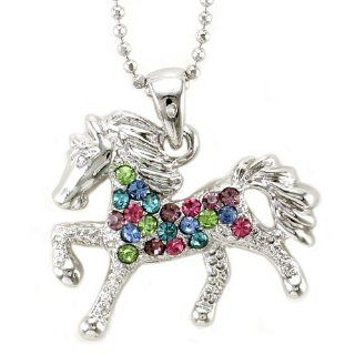 Multicolor Horse Necklace Pony Mustang Animal Pendant Charm Ladies Girls Women Jewelry