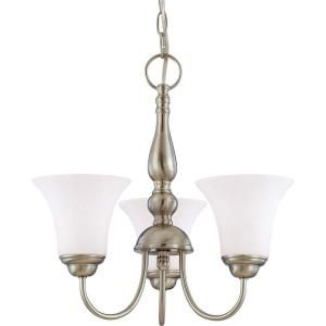 Glomar Dupont 3 Light Brushed Nickel Chandelier with Satin White Glass Shade HD 1821