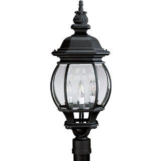 Progress Lighting P5401 31 4 Light Post Lantern with Clear Beveled Glass, Textured Black   Outdoor Post Lights