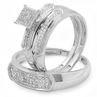 0.33 Carat (ctw) Sterling Silver Round White Diamond Men & Womens Micro Pave Engagement Ring Trio Bridal Set 1/3 CT Wedding Ring Sets Jewelry