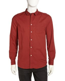 Long Sleeve Poplin Sport Shirt, Sun Dried Tomato