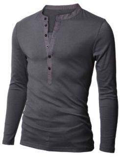 Doublju Mens Long Sleeve Slim Fit Henley Shirts at  Men's Clothing store