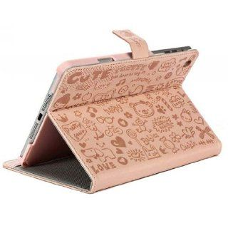 ECVISION Cute Cartoon Fancy Girls Book Style Folio Stand PU Leather Cover Case Skin for Ipad Mini Pink Computers & Accessories