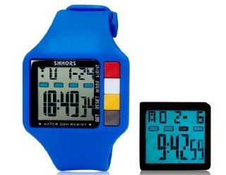 SHORS SH 601 Unisex Rectangular LED Digital Display Waterproof Watch (Blue) M.  Sports Fan Watches  Sports & Outdoors