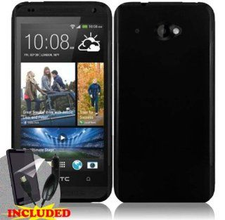 HTC Zara/ Desire 601 One Piece TPU Rubber Body Case Cover, Black + screen protector & car charger Cell Phones & Accessories