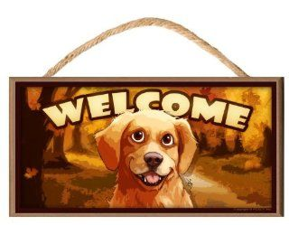 Golden Retriever Dog Autumn Season Cartoonish look Welcome Sign / Plaque featuring the art of Scott Rogers   Decorative Plaques