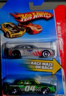 Hot Wheels A Maze'N Speedway 2 Pack INDIANAPOLIS 500 chevy camaro & metallic green pontiac stunt car Toys & Games