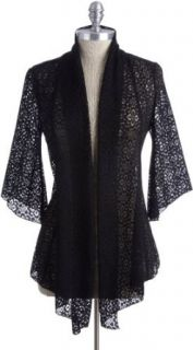 Annalee & Hope Open Front Lace Cardigan Black Medium Cardigan Sweaters