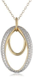 "18k Yellow Gold Plated Sterling Silver Two Tone Double Open Oval Pendant Necklace, 18"" Jewelry"