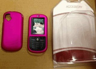 Non slip Rubber Coated Hot Pink Case Cover for Alcatel Ot 606a T mobile Sparq Cell Phones & Accessories