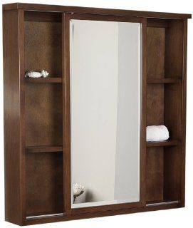 American Imaginations 28 35 Inch by 35 Inch American Birch Wood Square Medicine Cabinet, Cherry Finish   Shelving Hardware