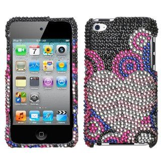 Black Silver Pink Blue Bubble Heart Full Diamond Bling Snap on Design Case Hard Case Skin Cover Faceplate for Apple Ipod Touch 4g 4th Generation + Screen Protector Film   Players & Accessories