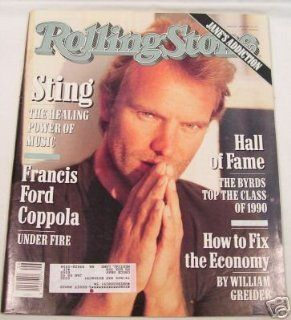 """STING"" issue of ROLLING STONE MAGAZINE # 597FEBRUARY 7TH, 1991 ROLLING STONE Books"
