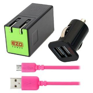 EZOPower Black 3.1A 15W Dual Port USB Travel Wall Charger Adapter + 2 Port USB Car Charger Adapter + 6 Ft Hot Pink Micro USB Cable for HTC One (M8)/ (M7), Desire / Desire 601, One Max, One Mini; Samsung Galaxy S5, Galaxy Note 3, Galaxy Mega 6.3, Galaxy S I