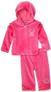 Hello Kitty Baby girls Infant Velour Sweat Suit, Pink, 24 Months Clothing