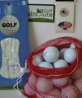 Mens Gift Box 36 Recycled Golf Balls in Mesh Bag With Free Tee's & Magnetic American Flag Golf Ball Marker/Hat Clip & Glove White Left Large Golf Glove  Golf Gift Sets  Sports & Outdoors