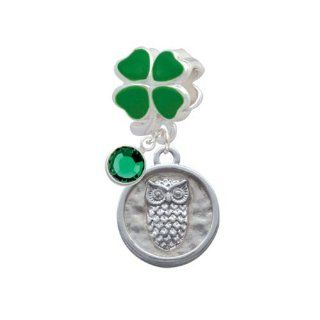 Lucky Owl   Round Seal Green Four Leaf Clover European Charm Bead Hanger with Emerald Crystal Drop Jewelry