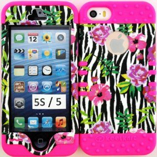 Apple Iphone 5s/5 Black & White Zebra with Flower Protective Cover Case on Pink Silicone Gel Hybrid Dual Layer Case Cover. Cell Phones & Accessories