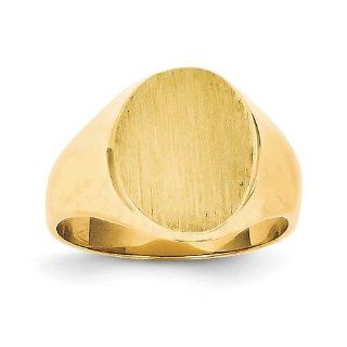 14k Yellow Gold Signet Ring. Gold Weight  4.98g. 13.2mm x 10.9mm face Jewelry