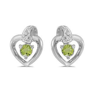 10k White Gold Round Peridot And Diamond Heart Earrings Jewelry