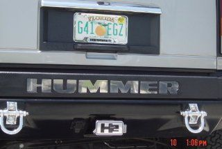 Hummer H2 Chrome Rear Bumper Letter inserts + ABS self lock Hitch insert COMBO Automotive