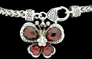 From the Heart Red Crystal Butterfly Bracelet with Sparkling Clear Rhinestones defining the Wings. Butterfly Charm is attached to a Heavy Bracelet with a Beautiful Heart Lobster Claw ClaspBeautifulPerfect Gift for Valentine's Day, Mother's D