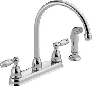 Delta Faucet 21988LF Two Handle Kitchen Faucet with Spray, Chrome   Touch On Kitchen Sink Faucets