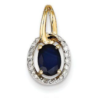 Blue Sapphire & Diamond Pendant in Yellow Gold   14kt   Exquisite Jewelry