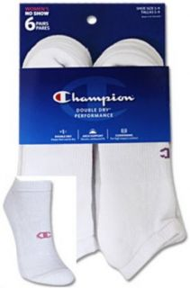 Champion CH639 Double Dry Performance No Show Women's Athletic Socks 6 Pk