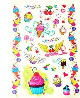 BT0099 Colorful Cake & Ice Cream, Removable Tattoos Easy Fun, Non Toxic, Tattoos Toys & Games