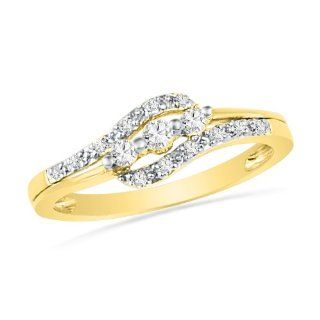 10KT Yellow Gold Round Diamond Three Stone Bypass Promise Ring (1/4 Cttw) D GOLD Jewelry