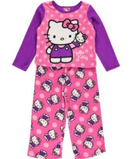 Hello Kitty Toddler Girls Purple & Pink 2Pc Fleece Pajama Set (2T) Clothing