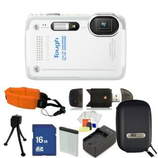 Olympus TG 630 iHS Digital Camera (White) Kit. Includes 16GB Memory Card, High Speed Memory Card Reader, Extended Life Replacement Battery, Charger, Floating Strap, Camera Case & Starter Kit  Digital Camera Accessory Kits  Camera & Photo